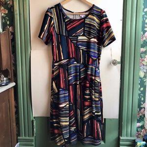 LULAROE Amelia Red Blue Ivory Black Striped Dress